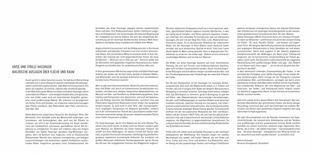 Marina Schuster, Malerische Aussagen über Fläche und Raum